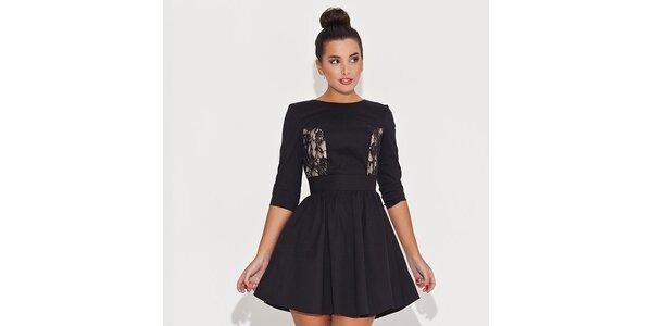 Dámske čierne šaty s čipkovanými priehľadmi Katrus
