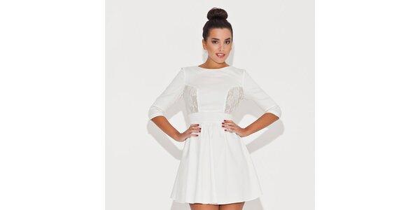 Dámske biele šaty s čipkovanými priehľadmi Katrus