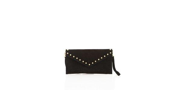 Dámska čierne semišové kabelka Shambala so zlatými detailami