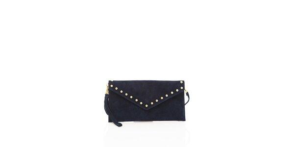 Dámska temno modré semišové kabelka Shambala so zlatými detailami