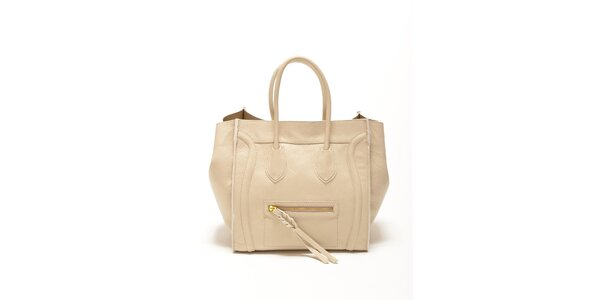 Dámska béžová kabelka s copovým detailom Renata Corsi