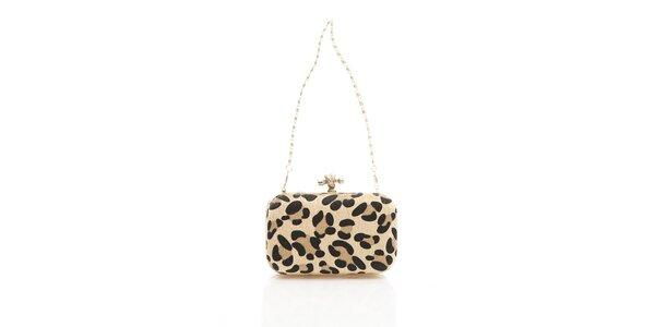 Dámska svetlo krémová leopardia kabelka Shambala s kovovou retiazkou