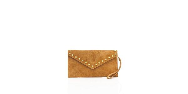 Dámska ťavia semišová kabelka Shambala so zlatými detailami