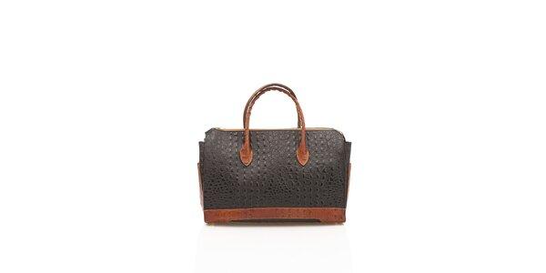 Dámska čierno-hnedá kabelka Shambala v efekte krokodýlej kože