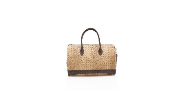 Dámska béžovo-hnedá kabelka Shambala v efekte krokodýlej kože