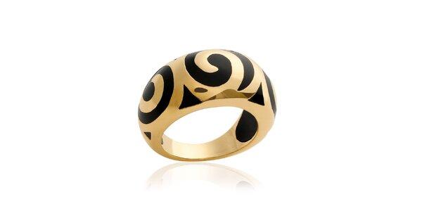 Zlatý prsteň s čiernym vzorom La Mimossa