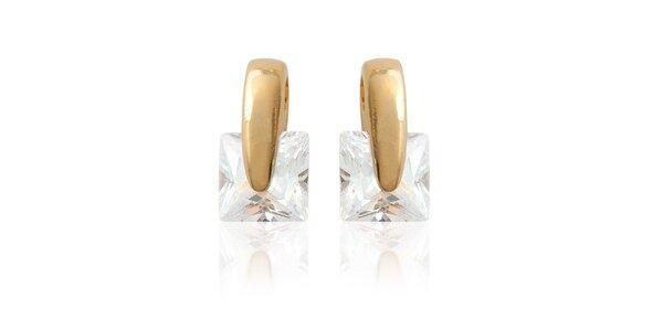 Zlaté náušnice s kamienkami La Mimossa