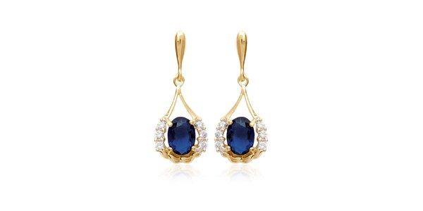Zlaté náušnice s modrými kamienkami La Mimossa