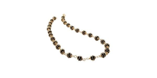 Zlatý náhrdelník s čiernymi kamienkami La Mimossa