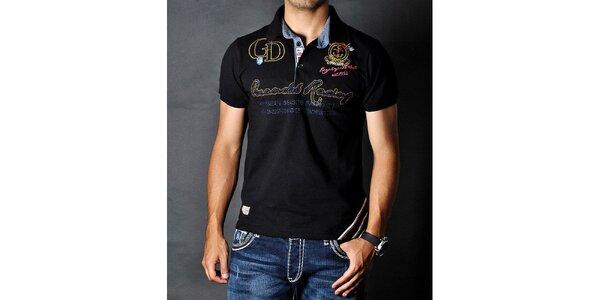 Pánske čierne polo tričko s nášivkami Pontto