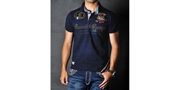 Pánske tmavo modré polo tričko s nášivkami Pontto