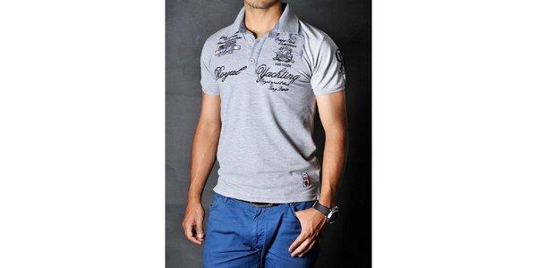 Pánske šedé polo tričko s nášivkami Pontto