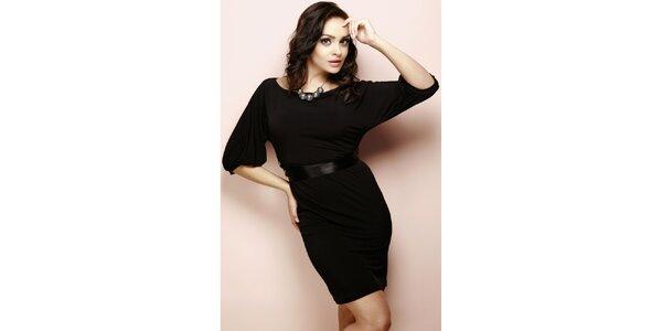 Dámske čierne šaty s leským opaskom Figl