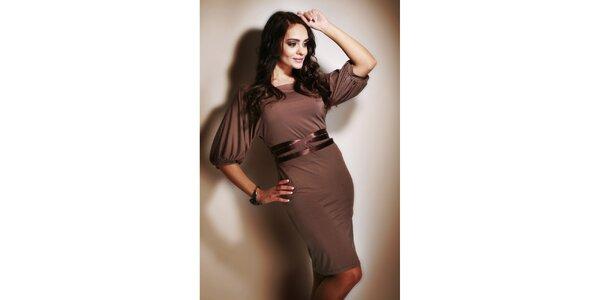 Dámske hnedé šaty s leským opaskom Figl