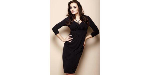 Dámske čierne šaty s prekríženým dekoltom Figl