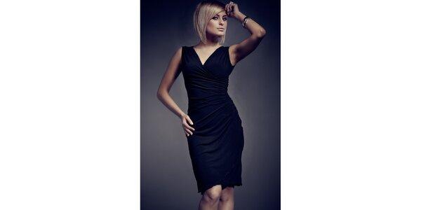 Dámske čierne zavinovacie šaty Figl