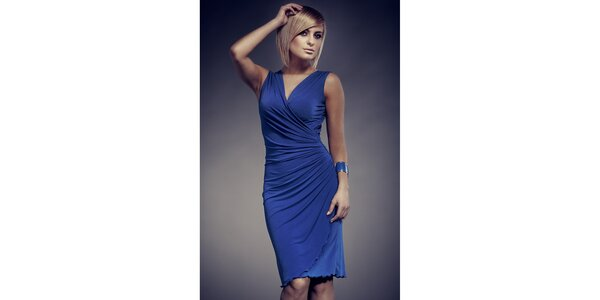 Dámske modré zavinovacie šaty Figl
