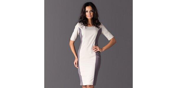 Dámske biele šaty so šedými bočnými lemami Figl