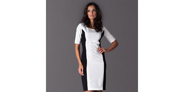 Dámske biele šaty s čiernymi bočnými lemami Figl