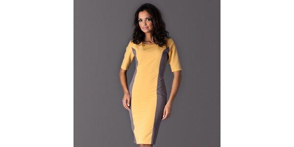 Dámske žlté šaty so šedými bočnými lemami Figl
