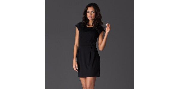 Dámske čierne šaty s krátkými rukávmi a mašľou Figl