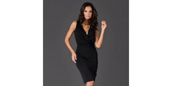 Dámske čierne šaty s rafinovaným výstrihom Figl