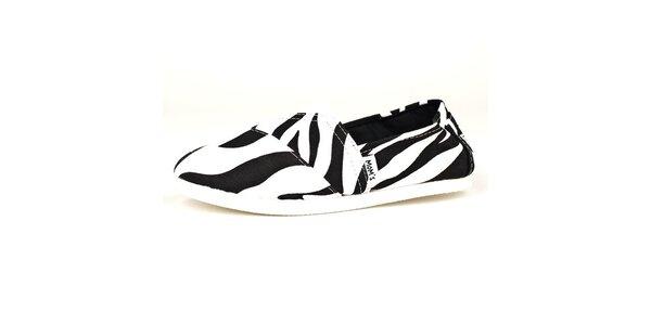 Čierno-biele espadrilles so zebrým vzorom a bielou podrážkou Mom's