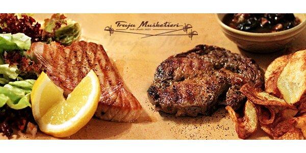Mušketierske steaky s prílohou a omáčkou