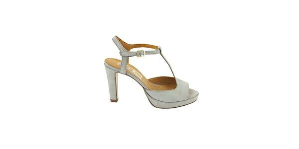 Dámske šedo-modré sandálky s prackou Eye