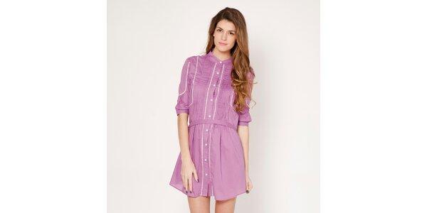 Dámske svetlo fialové prepínacie šaty s jemným prúžkom Tantra