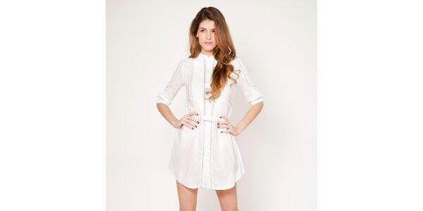 Dámske biele prepínacie šaty s jemným prúžkom Tantra