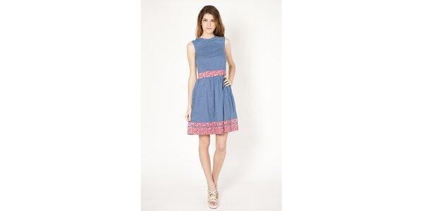Dámske modré šaty s bielymi bodkami a korálovými detailmi Tantra