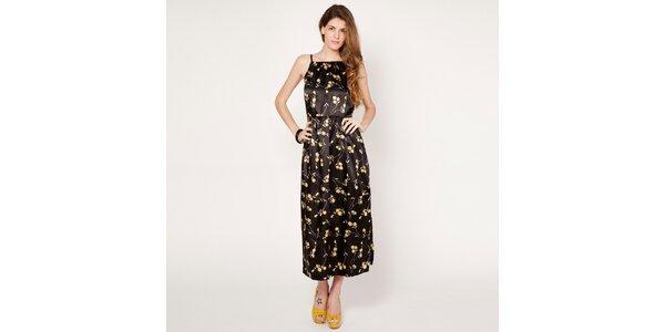 Dámske čierne šaty so žltými kvetmi Tantra