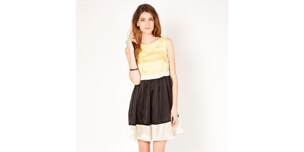Dámske žlto-čierne šaty bez rukávov Tantra