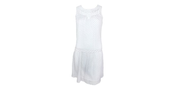 Dámske biele minišaty bez rukávov s jemným vzorčekom Tantra