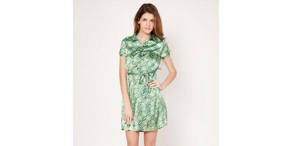 Dámske zelené šaty s límčekom Tantra