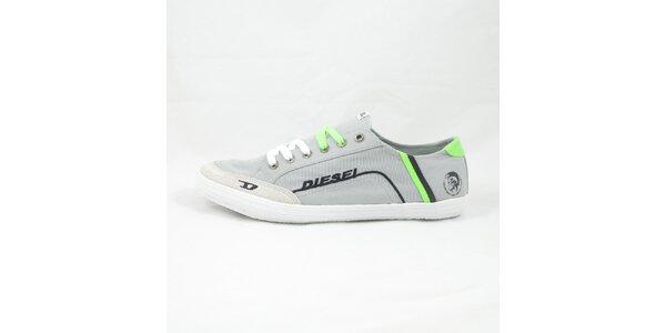 Pánske šedo-zelené tenisky Diesel