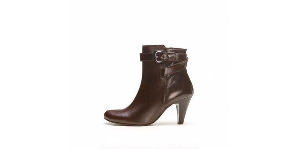 8744eeae7d413 Dámske tmavo hnedé kotníčkové topánky Belmondo na vysokom podpätku