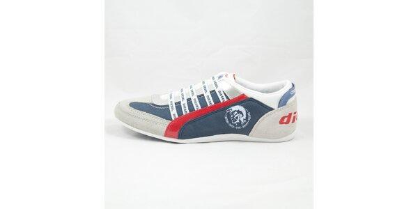 Pánske šedo-modré tenisky s červenými detaillmi Diesel