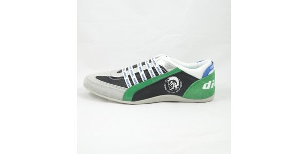 Pánske šedo-zelené tenisky s modrými detailmi Diesel