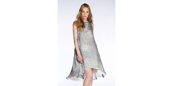 Dámske šedé vzdušné šaty s potiskom Gene