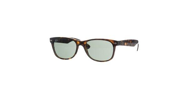 Tmavo hnedé pruhované slnečné okuliare Ray-Ban New Wayfarer