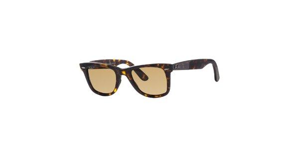 Tmavo hnedé pruhované slnečné okuliare Ray-Ban Original Wayfarer