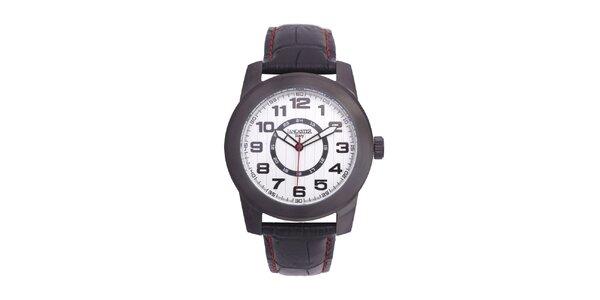 Pánske čierne analógové hodinky s bielym ciferníkom Lancaster