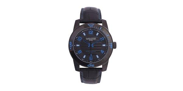 Pánske čierne analógové hodinky s modrými detailmi Lancaster