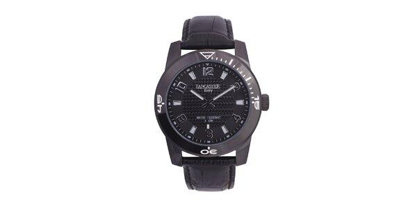 Pánske čierne analógové hodinky so šedými detailmi Lancaster