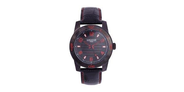Pánske čierne analógové hodinky s červenými detailmi Lancaster