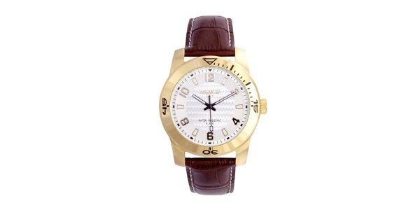 Pánske hnedo-zlaté analógové hodinky Lancaster