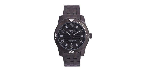 Pánske čierne analógové hodinky z ušľachtilej nerez oceľi Lancaster
