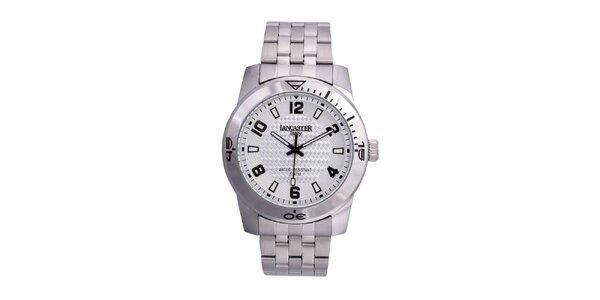 Pánske strieborno-platinové analógové hodinky Lancaster